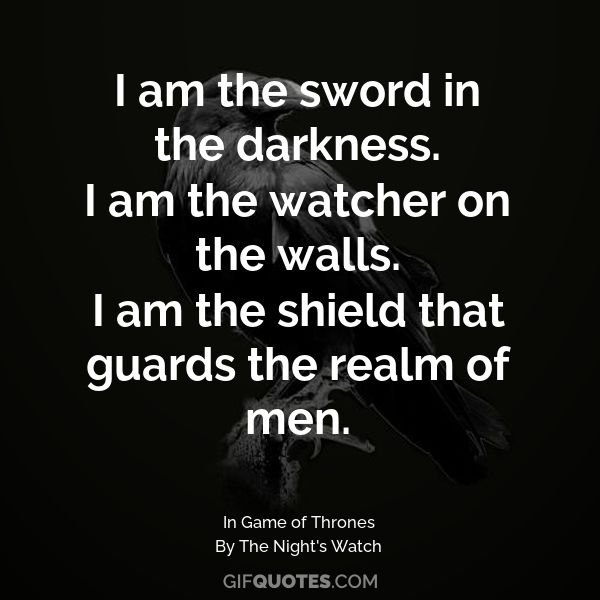 I am the sword in the darkness. I am the watcher on the ...